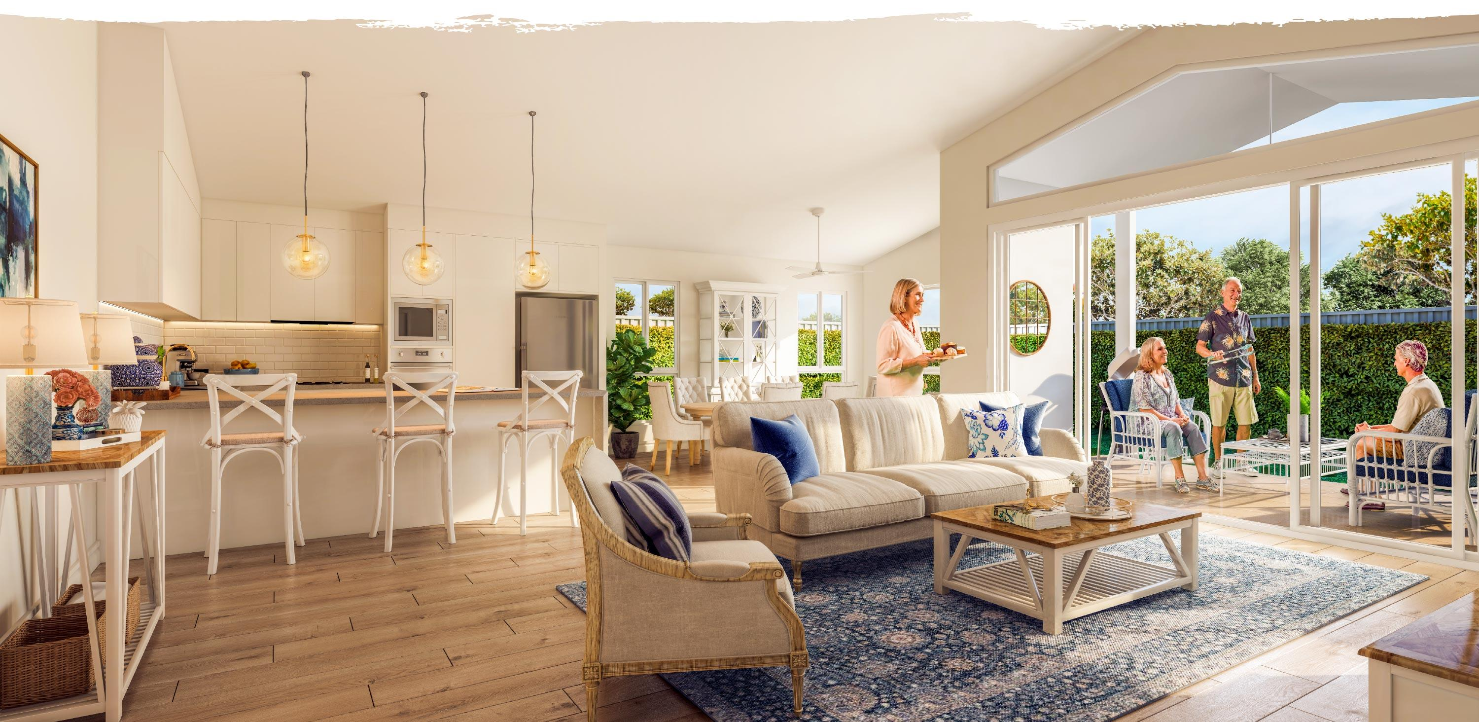Plantations residents entertaining friends in their new hampton style home