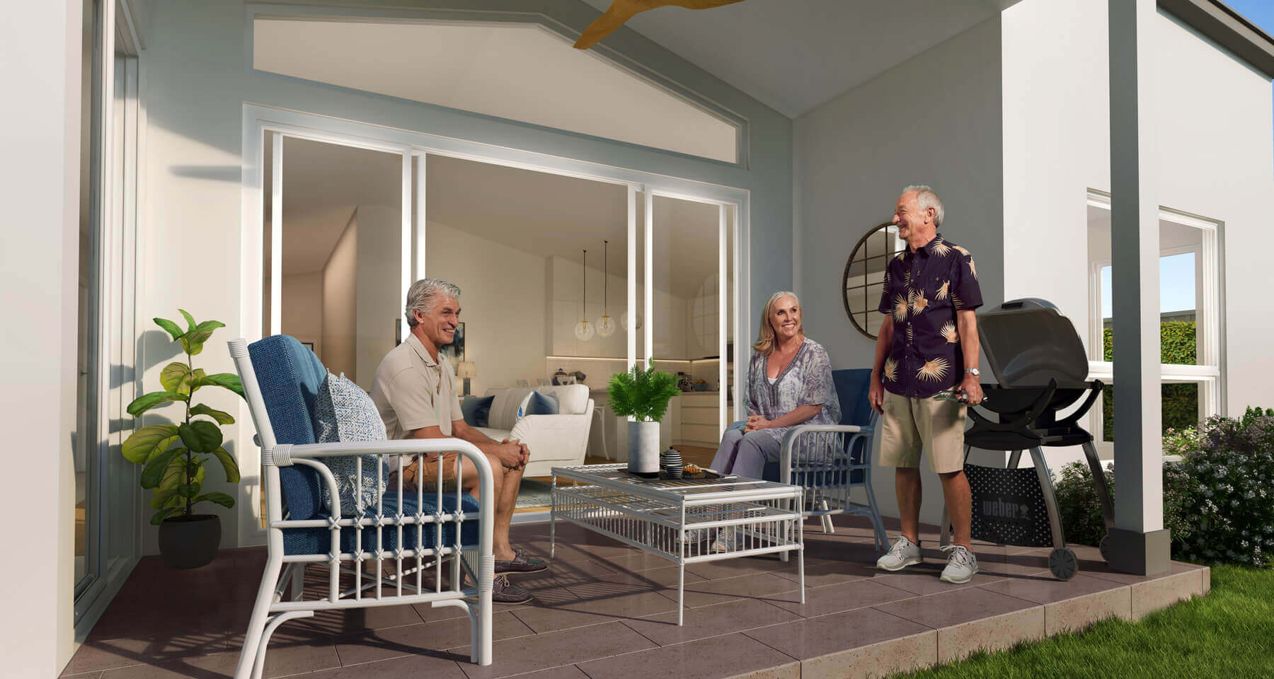 Residents entertaining in their homes outdoor alfresco area