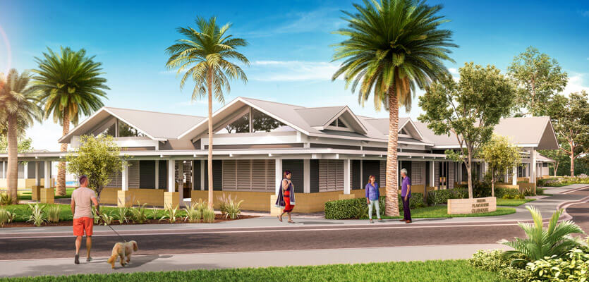 Plantations residents enjoying outdoor Porte Cochere