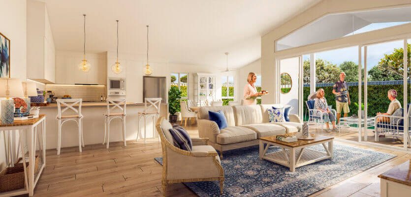Residents in their new Hampton style home at Plantations